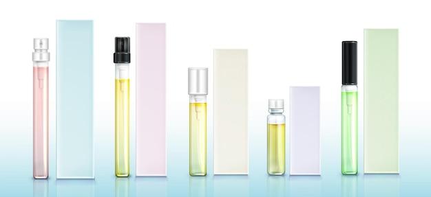 Conjunto de frascos e caixas de amostra de perfume