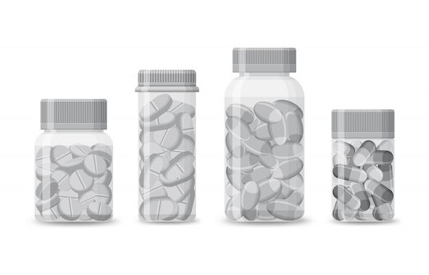 Conjunto de frascos em branco com comprimidos isolados em um fundo branco. embalagem de produtos médicos realistas com comprimidos e cápsulas. tubos de plástico para medicamentos de farmácia. ilustração.