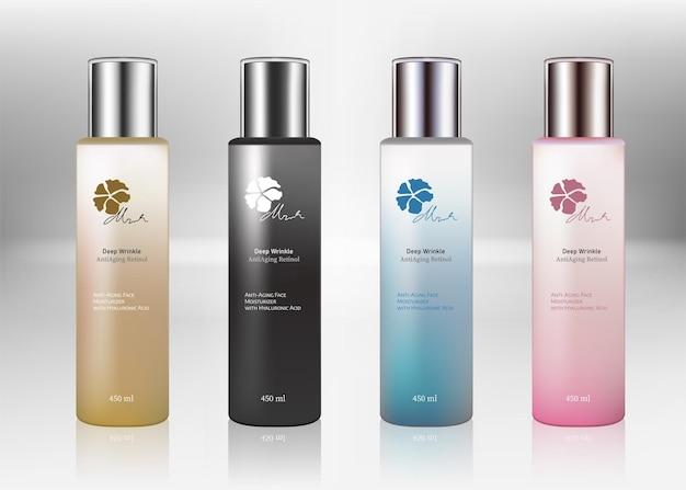 Conjunto de frascos frascos de cosméticos em branco para o modelo de frascos transparentes de medicamentos líquidos com tampa colorida