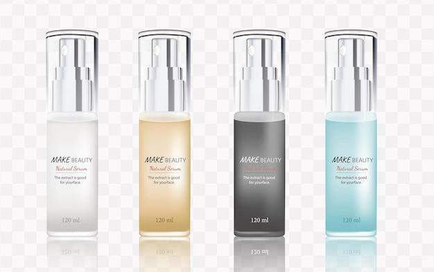 Conjunto de frascos frascos em branco para cosméticos, embalagens de spray para modelos de frascos transparentes de medicamentos líquidos