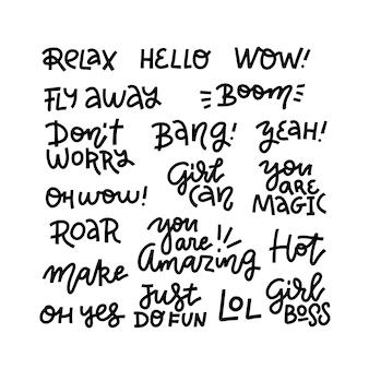 Conjunto de frases curtas para uma conversa informal. ilustração de mão desenhada. caligrafia de linha moderna em negrito isolada no fundo branco. texto emocional da camisa para estampas.
