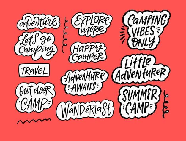 Conjunto de frases de aventura e verão autocolantes com letras texto de motivação fundo rosa