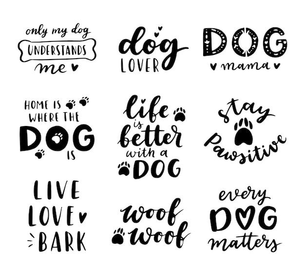 Conjunto de frases de cachorro. citações inspiradoras sobre cães. frases escritas à mão