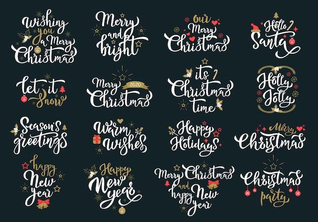 Conjunto de frases de caligrafia branca de saudações de feliz natal