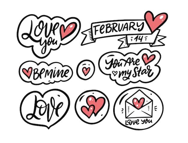 Conjunto de frases de caligrafia de amor e dia dos namorados.