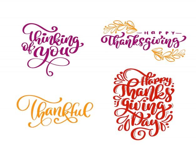 Conjunto de frases de caligrafia feliz dia de ação de graças