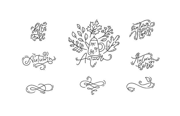 Conjunto de frases de caligrafia monoline outono