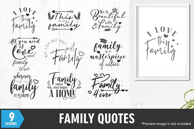 Conjunto de frases de citações de família