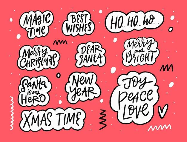 Conjunto de frases de letras de feliz natal e feliz ano novo com texto preto desenhado à mão