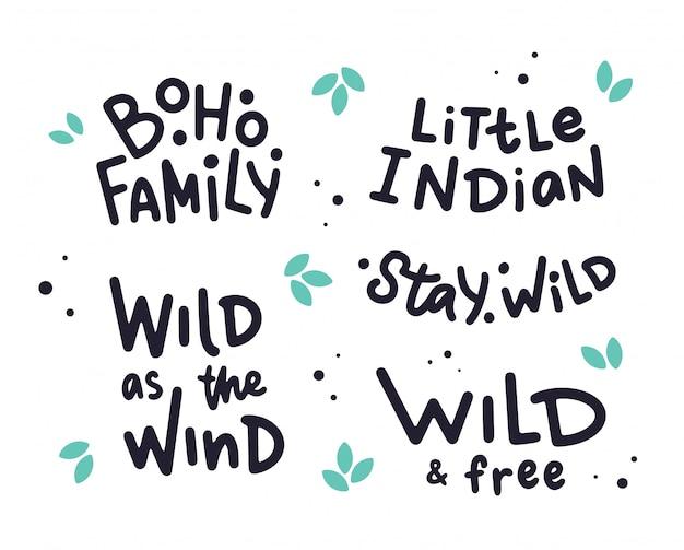 Conjunto de frases de letras de mão sobre o estilo boho.