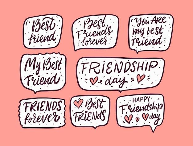 Conjunto de frases de letras para o dia da amizade