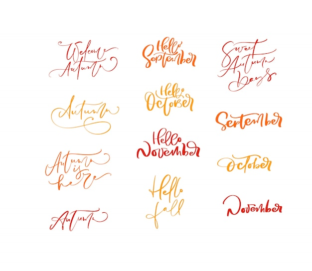Conjunto de frases de outono caligrafia letras laranja