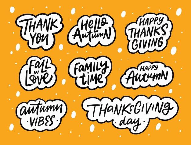 Conjunto de frases de outono desenhadas à mão na cor preta texto letras comemoração do dia de ação de graças