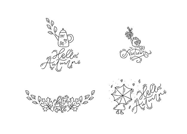 Conjunto de frases e elementos de caligrafia de outono monoline