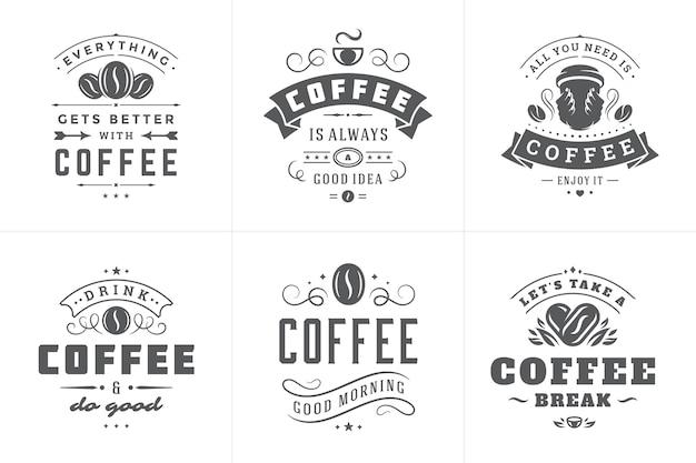 Conjunto de frases inspiradoras de café