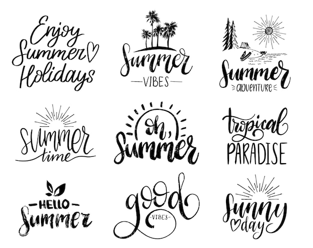 Conjunto de frases inspiradoras de verão manuscritas. ilustrações de citações divertidas. coleção de caligrafia em fundo branco.