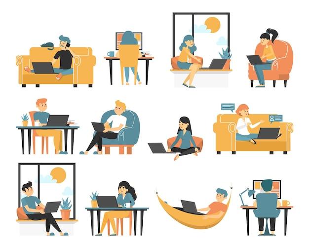 Conjunto de freelancer. coleção de pessoas que trabalham remotamente de casa