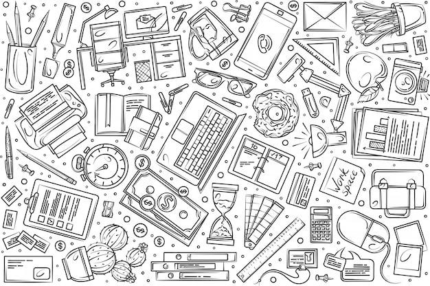 Conjunto de freelancer mão desenhada doodle fundo