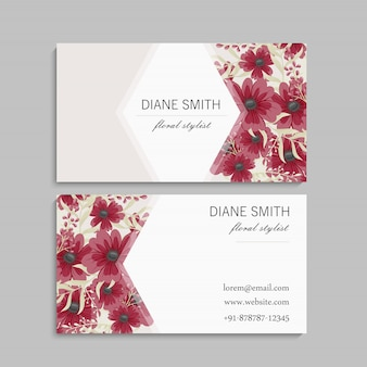 Conjunto de frente e verso do cartão com flores