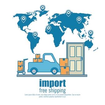 Conjunto de frete grátis de importação