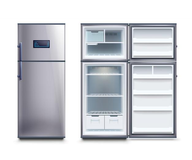 Conjunto de frigoríficos em aço