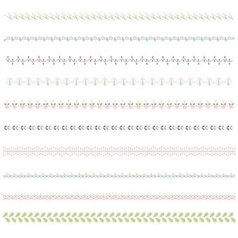 Conjunto de fronteira de linha e elemento de design de rabisco.