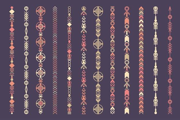 Conjunto de fronteira étnica mão desenhada vetor linha. padrão de estilo de moda boho. elementos de desenho vetorial.