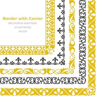 Conjunto de fronteira ornamental sem costura decorativa com canto