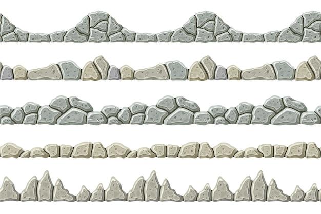 Conjunto de fronteiras cinzentas antigas sem costura.