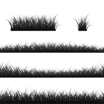 Conjunto de fronteiras de grama. panorama da grama negra. ilustração em fundo branco