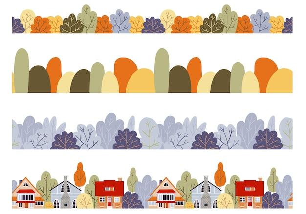 Conjunto de fronteiras de outono sem costura vetor caem paisagem florestal
