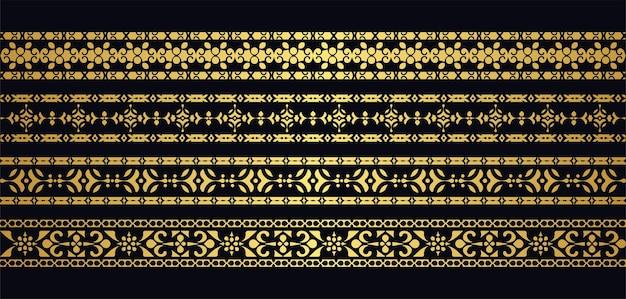 Conjunto de fronteiras étnicas sem costura de estilo ornamento de luxo