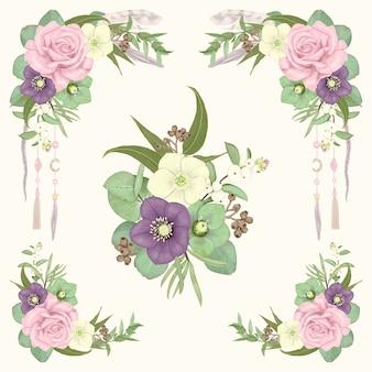 Conjunto de fronteiras florais mão desenhada boho