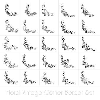 Conjunto de fronteiras floral cornar vintage - vetor