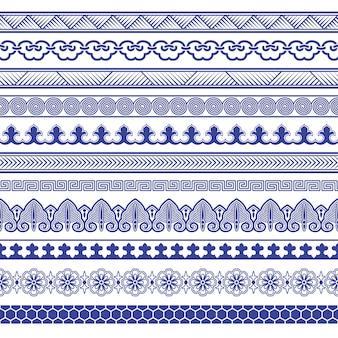 Conjunto de fronteiras sem costura de porcelana chinesa.