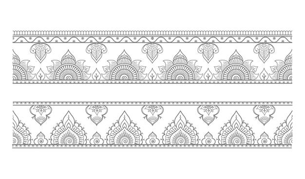 Conjunto de fronteiras sem costura e estilo oriental étnico