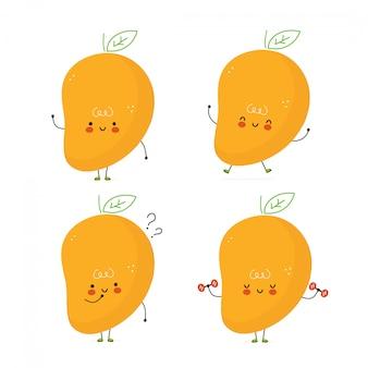 Conjunto de fruta manga bonito feliz. isolado no branco projeto de ilustração vetorial personagem dos desenhos animados, estilo simples simples pacote de caracteres de manga, conceito de coleção