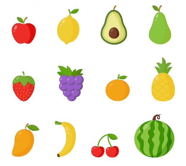 Conjunto de frutas bonitas da caixa. coleção de vitaminas de verão de alimentos saudáveis.