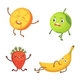 Conjunto de frutas bonito dos desenhos animados. ilustração com personagens engraçados. hora de comida fresca engraçada.
