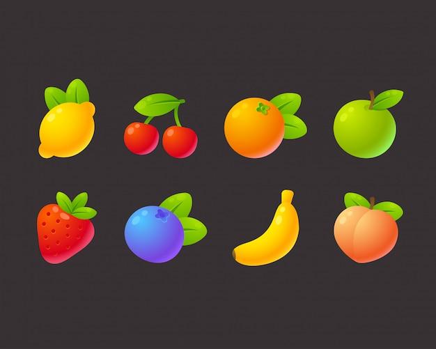 Conjunto de frutas brilhantes dos desenhos animados