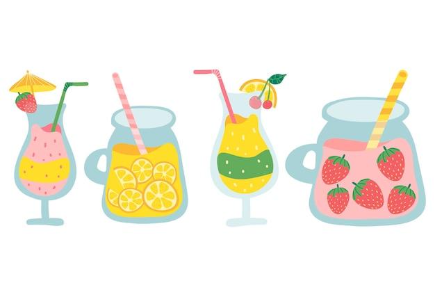Conjunto de frutas coctel. conjunto de saborosos sucos espremidos frescos.
