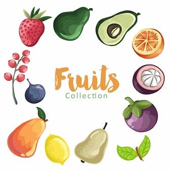 Conjunto de frutas coloridas dos desenhos animados. coleção fruits