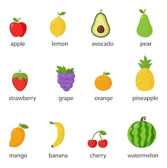Conjunto de frutas coloridas nomeadas em inglês. coleção de ilustrações.