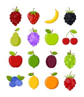 Conjunto de frutas coloridas