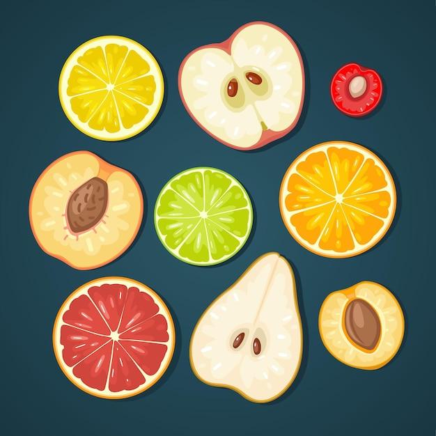 Conjunto de frutas damasco kiwi verde limão limão laranja pêssego pêra cereja com sombra