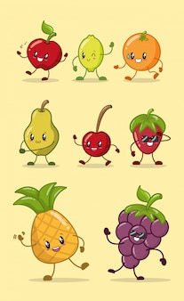 Conjunto de frutas de cores kawaii feliz