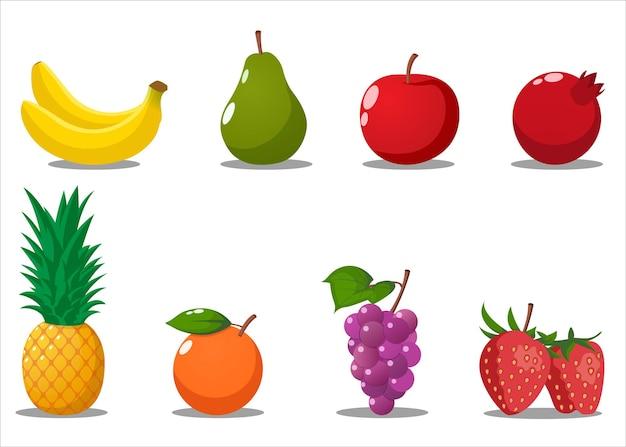 Conjunto de frutas de desenho animado banana, pêra, maçã, romã, abacaxi, uva, morango, laranja com folha