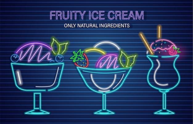 Conjunto de frutas de néon de sorvete