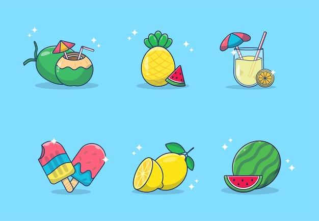 Conjunto de frutas de verão, alimentos, bebidas. melancia, limão, sorvete, abacaxi, bebida de coco