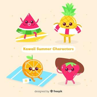 Conjunto de frutas de verão kawaii